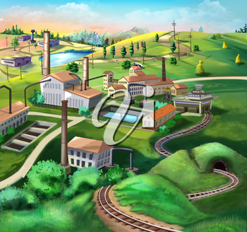 Digital painting of the Industrial landscape with factories, railroad and green plants.
