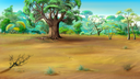 Digital painting of the African Savannah in a summer day with big baobab on background.