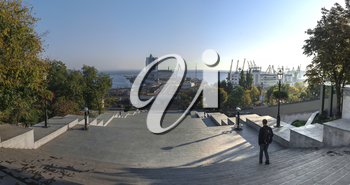 Odessa, Ukraine - 10.12.2018. Panoramic view of Odessa seaside boulevard and sculpture of the founder of the city щn a sunny autumn morning
