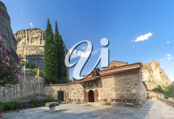 Panoramic view of the Assumption of Virgin Mary byzantine church in Meteora, Kalambaka town in Greece, on a sunny summer day