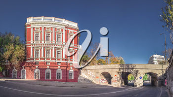 Panoramic view of historic real estate of Pommer and Saboneev bridge in Odessa, Ukraine