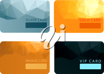 Gold, silver, bronze, VIP premium member cards in polygonal style. Gift, voucher or certificate, vector illustration