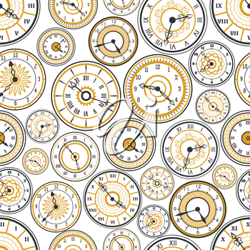 Black and gold watches seamless pattern vector