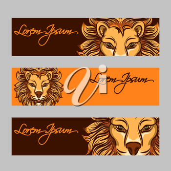 Horizontal web banners vector with bright lion face