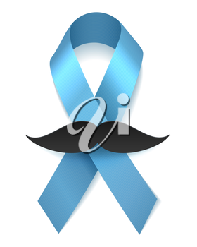 Prostate cancer man health blue ribbon with moustache isolated on white november vector poster