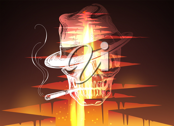 Cracked hole in ground with lava or magma fire and smoker skull vector illustration