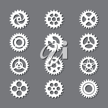 White gears icon set with shadows on grey backdrop. Vector illustration
