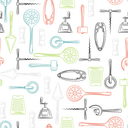 Hand drawn kitchen utensils seamless pattern. Vector color cutlery background