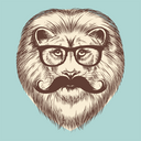 Hipster lion with eyeglasses and mustache. Vector animal vintage print design