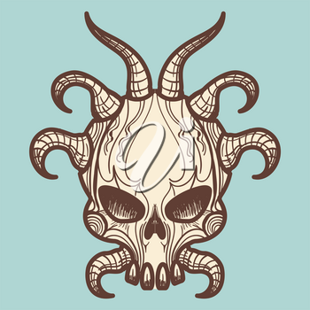 Vintage hand drawn monsters skull with horns, vector illustration