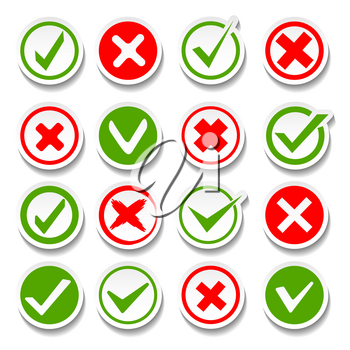 Wrong and right buttons. Vector true or false answer signs, good success yes and bad failure not symbols