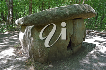 Big Shapsug dolmen. A megalytic construction in the woods of Kuban.