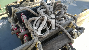 Rope ladder on the ship. Rope and wood.