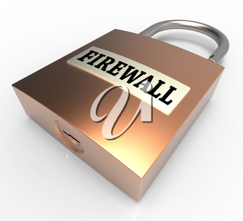 Firewall Padlock Meaning Safe Protected 3d Rendering