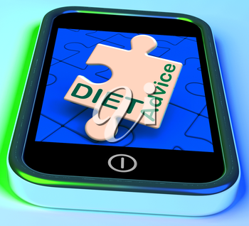 Diet Advice On Smartphone Showing Advisory Text Messages And Health Care