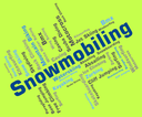 Snowmobiling Word Representing Winter Sports And Wordcloud