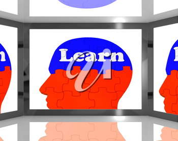 Learn On Brain On Screen Showing Educational TV Shows And Couching