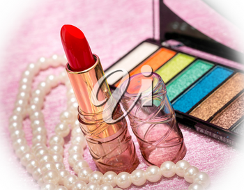 Lipstick And Makeup Indicating Beauty Product And Cosmetology