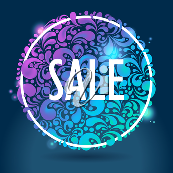 Abstract round shiny glowing sale background, vector illustration