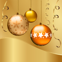 Abstract golden background with Christmas balls. Vector illustration.