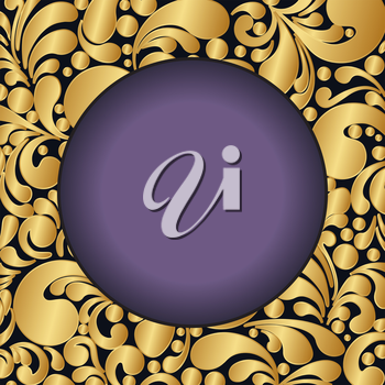 Circle golden decoration made of swirls shapes, vector illustration
