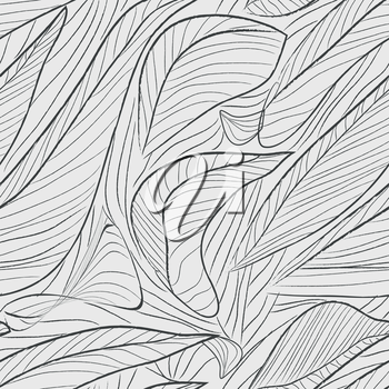 Seamless stylized leaf gray on white pattern. Vector illustration