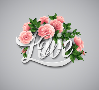 Word Love with flowers. Vector illustration EPS 10