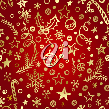 Christmas and New Year golden seamless pattern EPS 10