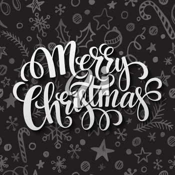 Merry Christmas lettering in chalk seamless pattern EPS 10