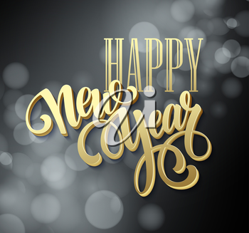 Happy New Year background with a gold lettering design. Vector illustration EPS 10