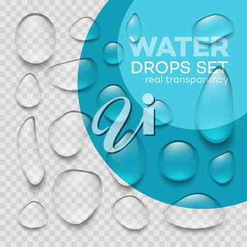 Realistic  transparent water drops set . Vector illustration EPS10