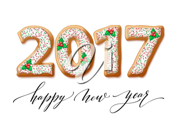 New Year 2017 in shape of gingerbread number as cookies. Vector illustration EPS10