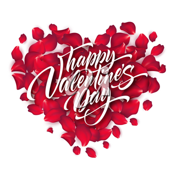 Valentines Day Lettering on Background With Rose Petals Formed A Heart. Vector illustration EPS10