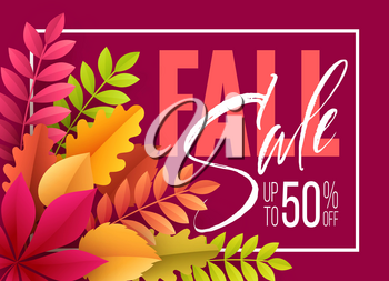 Autumn Sale background with Fall leaves. Vector illustration EPS10