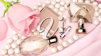 Perfume bottles and flower rose, petals and pearls on pink silk. 3D illustration