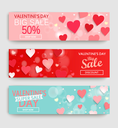 Sale header or banner set with discount offer for Happy Valentine's Day celebration. Vector illustration.