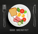 Good Breakfast lettering , fork and knife on textured blackboard background. A plate of eggs, bacon and vegetables. Vector design for breakfast menu, cafe, restaurant.