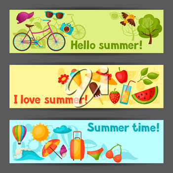 Banners with stylized summer objects. Design for cards, covers, brochures and advertising booklets.