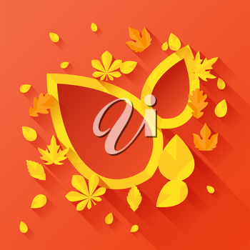 Background with autumn leaves in flat design style.