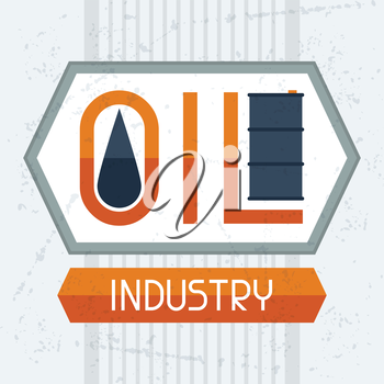 Oil industry background. Industrial illustration in flat style.