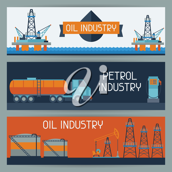 Industrial banners design with oil and petrol icons. Extraction and refinery facilities.