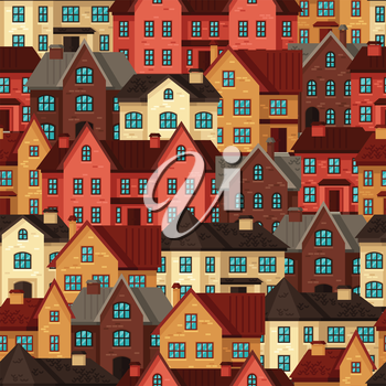 Town seamless pattern with cottages and houses.
