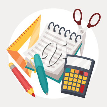 Education illustration design of school supplies icon.