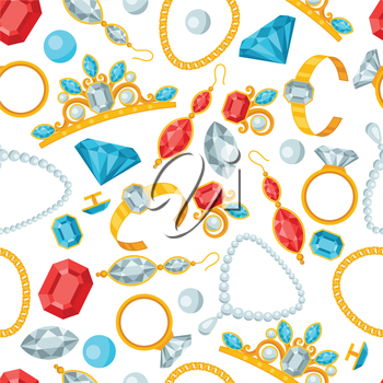 Seamless pattern with beautiful jewelry.