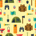 Tourist seamless pattern with camping equipment in flat style.