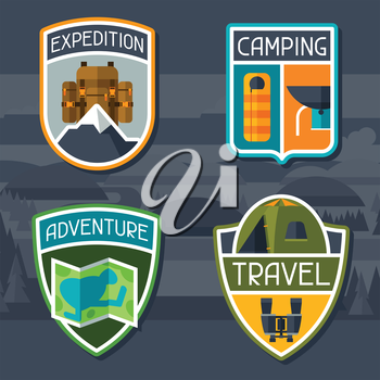 Set of tourist camping badge and label.