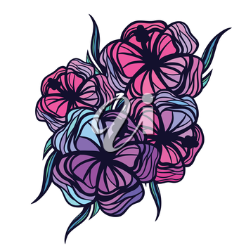 Bouquet of stylized tropical flowers on white background.