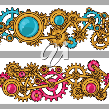 Steampunk seamless pattern of metal gears in doodle style.