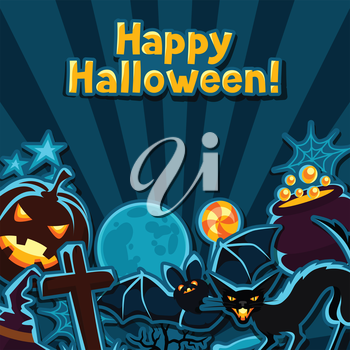 Happy halloween greeting card with stickers characters and objects.
