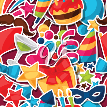 Carnival show and party seamless pattern with celebration stickers.